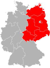 Map showing West and East Germany