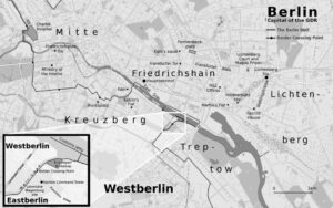 Map of central Berlin, showing main scenes from the book Thoughts Are Free